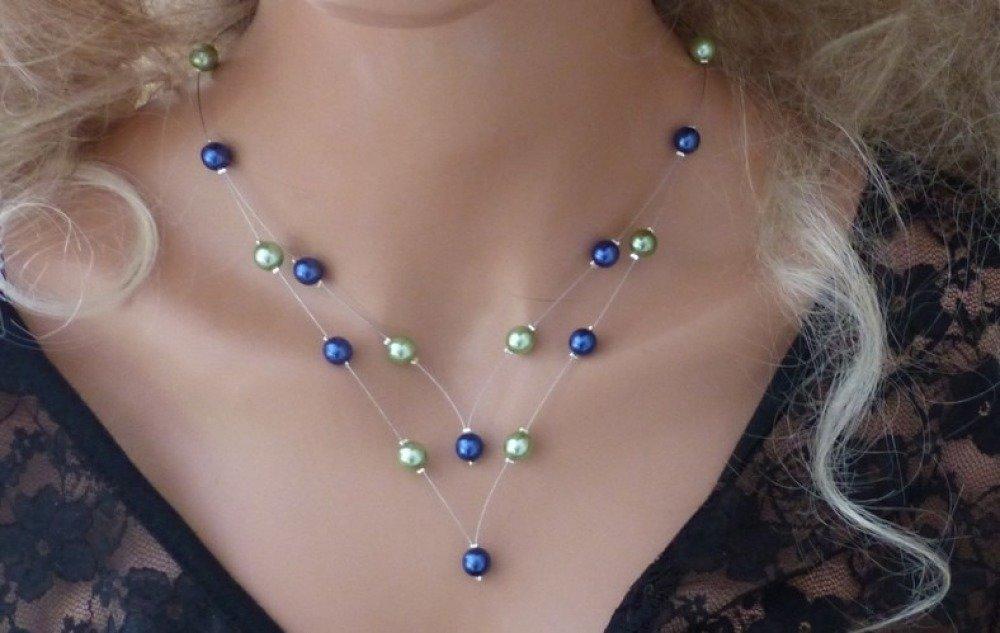 Collier pour mariage, mariée, collier pas cher, collier cérémonies vert bleu