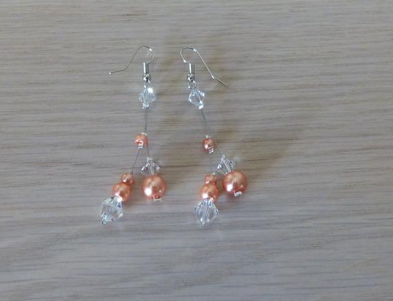 Mariage, mariée, boucles d'oreille corail cristal , boucles d'oreilles pas cher