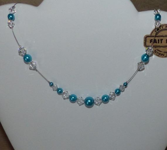 Collier mariage, collier mariée, collier fantaisie, collier strass et perles, collier turquoise , baptême, communion