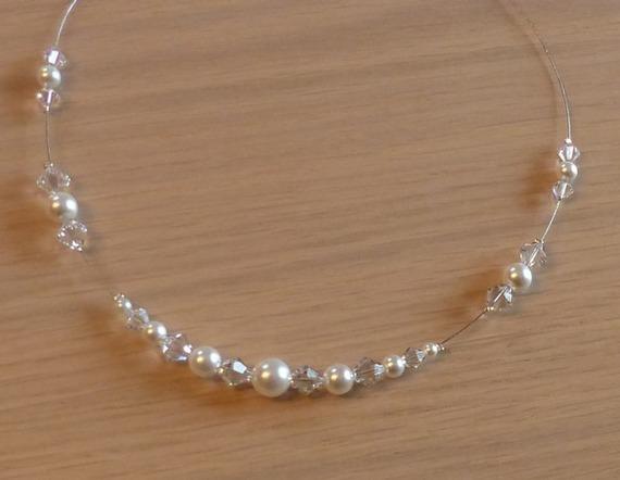 Collier mariage, collier mariée, collier fantaisie, collier strass et perles, collier blanciluoise , baptême, communion