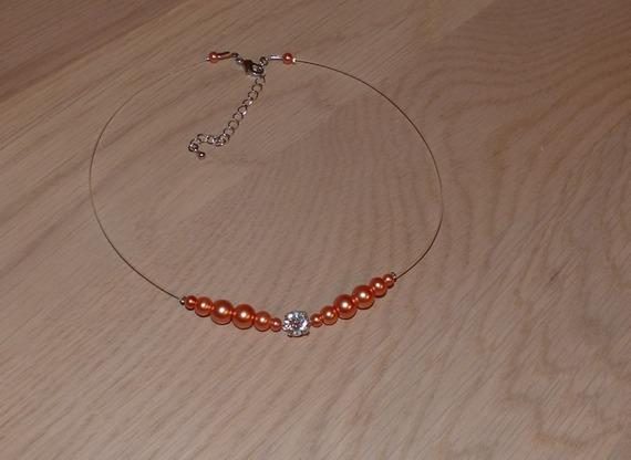 Collier mariage, collier mariée, collier fantaisie, collier strass et perles, collier corail , baptême, communion