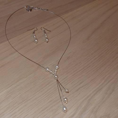 ensemble collier et boucle d'oreille mariage