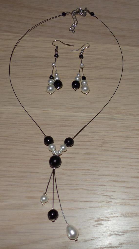 Parure mariage, collier bouclesd'oreilles, collier mariage, collier mariée, collier original , collier fantaisie, collier perles, collier