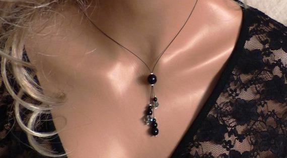 Bijoux fantaisie, bijoux mariage, bijou fêtes de fin d'année,  collier fantaisie,  collier pas cher, collier noir