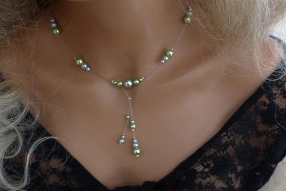 Collier mariage, collier gris/vert, collier cérémonie, soirée, collier pas cher, collier raffiné