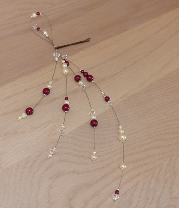 Bijoux mariage, bijou cheveux,  pince cheveux , perles nacrées  ivoire et  bordeaux , bijou rafiné original