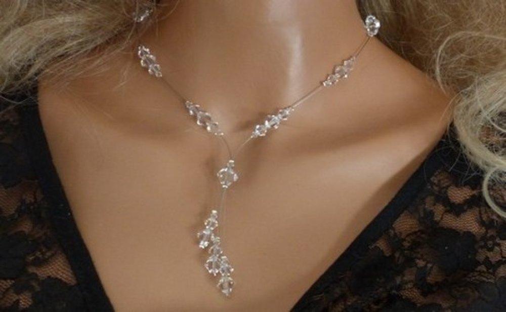 Bijoux mariage, collier mariage,  mariée, cérémonies, soirées, toupies cristal Swarovski, collier pas cher