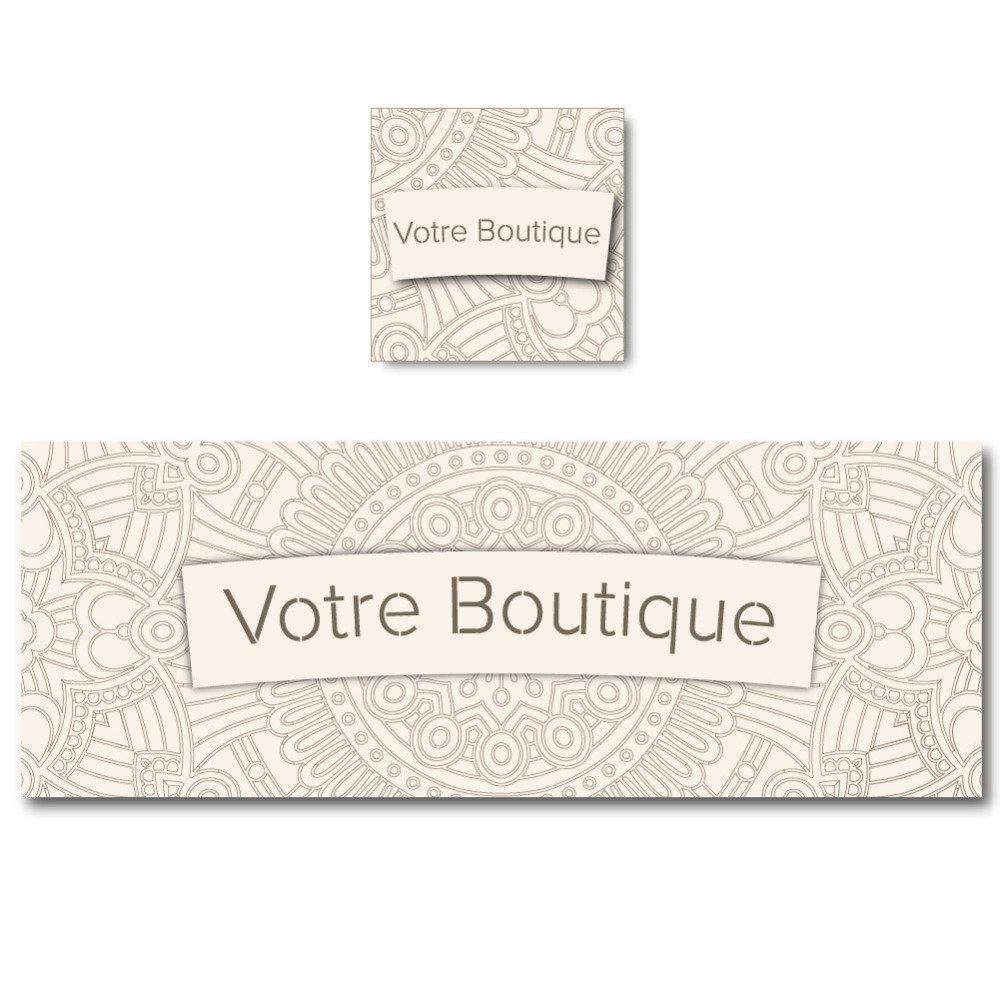 Bannière sobre mandala marron sur fond beige pour personnaliser votre boutique