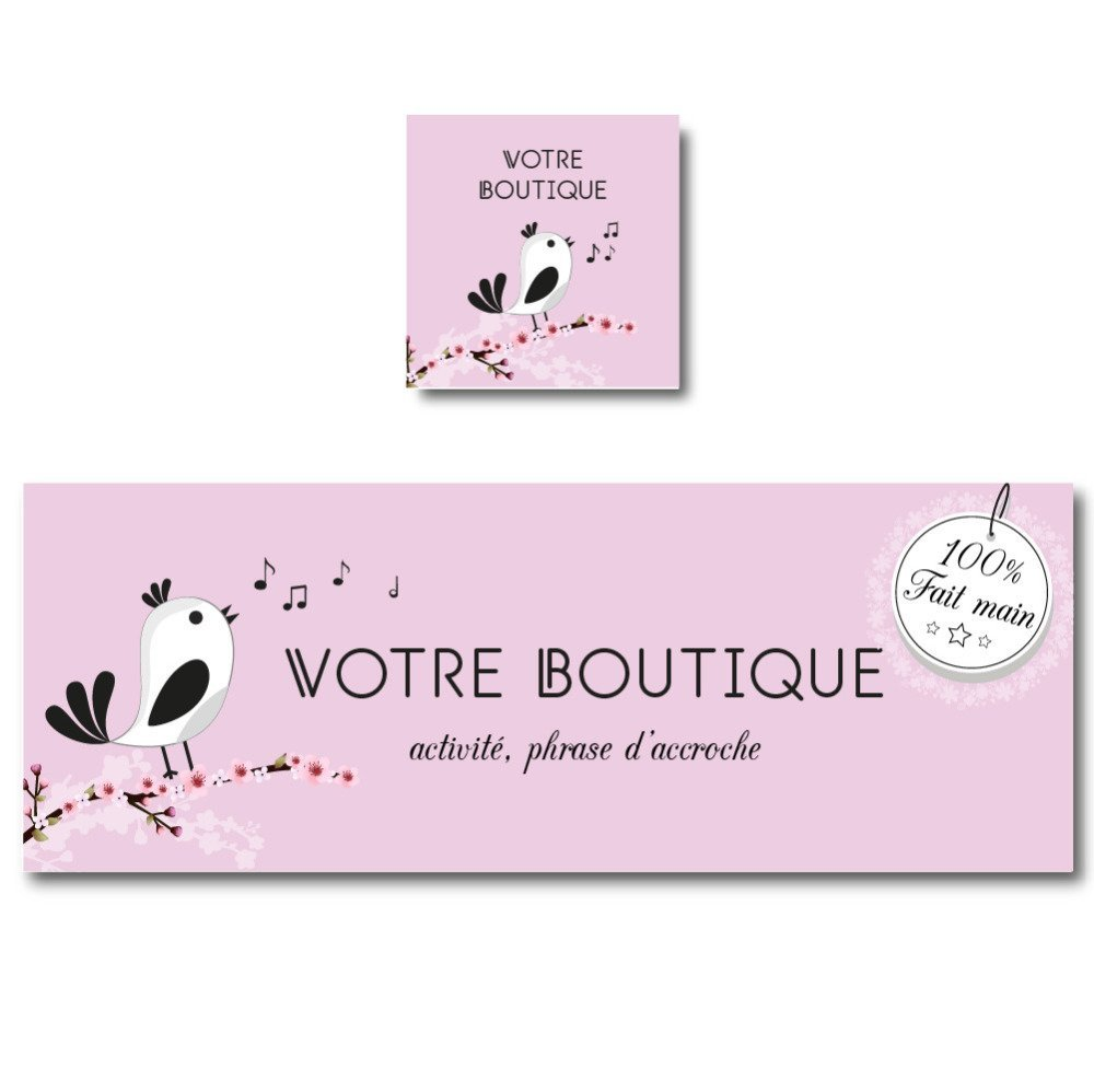 Bannière boutique oiseau sur fond rose, étiquette fait main