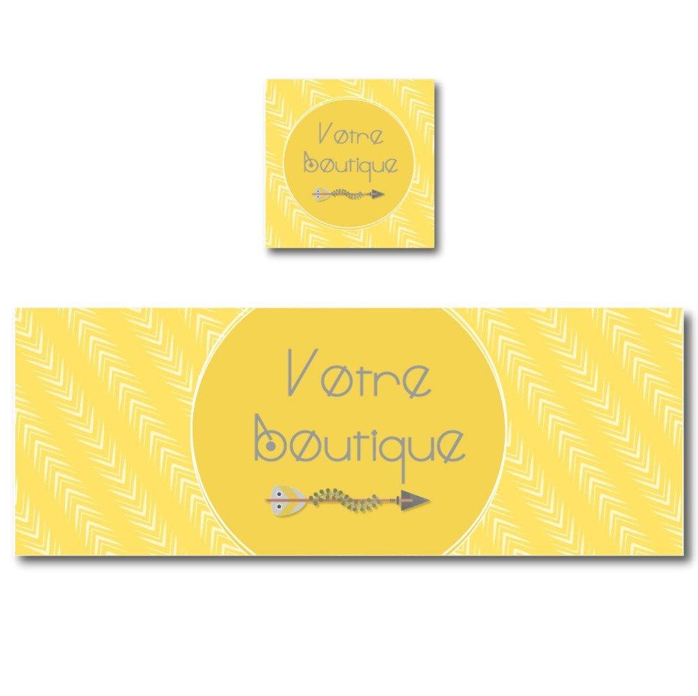 Bannière graphique jaune flèche et motif zigzag