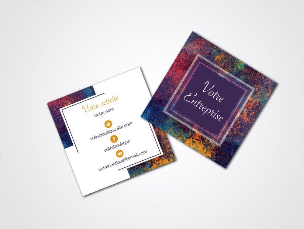 Carte de visite carrée violette et pigments multicolore