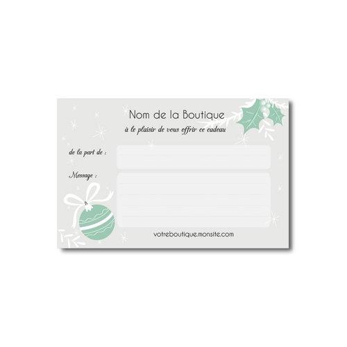 Carte message boules de noël pour accompagner vos cadeaux, format