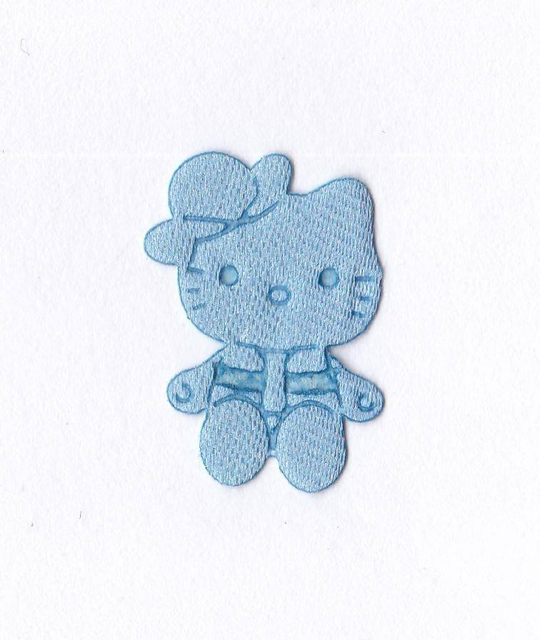 Applique chat couleur bleue
