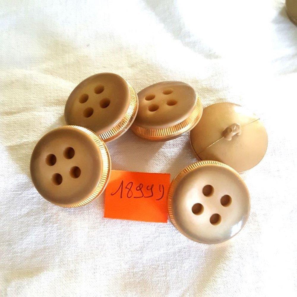 5 boutons résine beige foncé et métal doré anciens - 29mm - 1899D