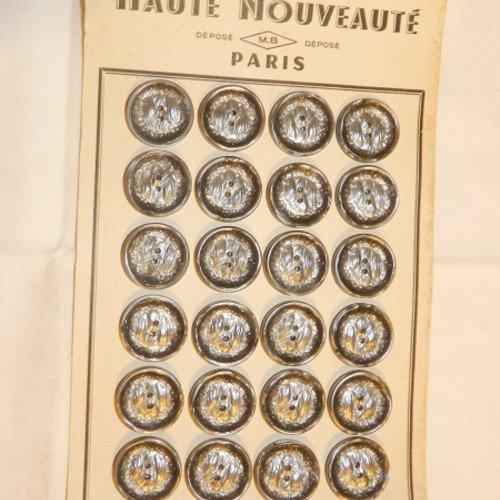 pl 138 1 planche de 24 boutons résine bleu anciens 18mm