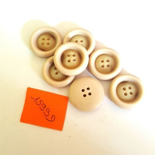 7 boutons résine crème anciens - 21mm - 1599d