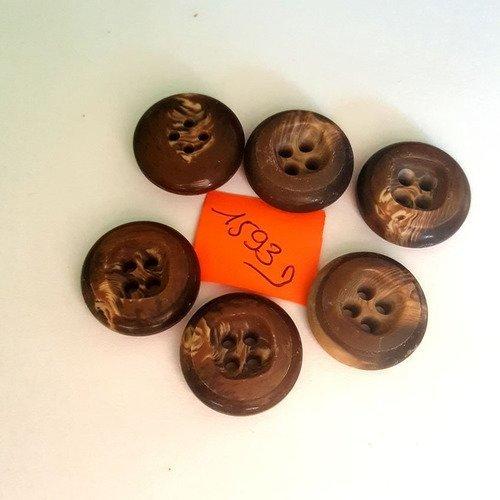 5 boutons résine marron anciens - 23mm - 1593d