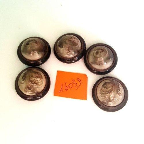 5 boutons résine marron et crème anciens - 24mm - 1603d