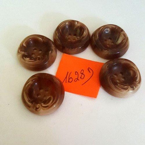 5 boutons résine marron anciens - 21mm - 1628d