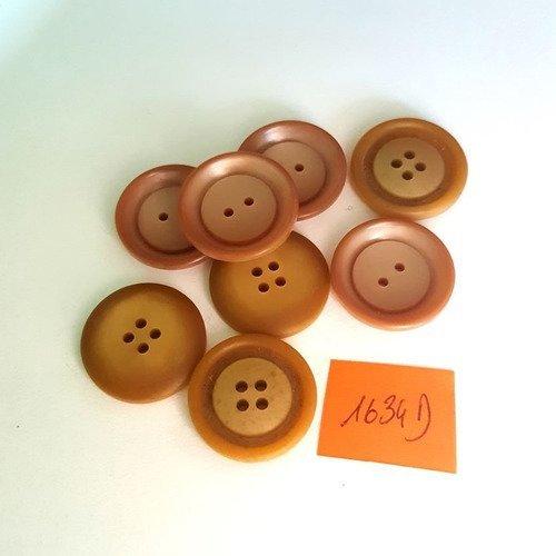 8 boutons résine marron clair anciens - 22mm - 1634d