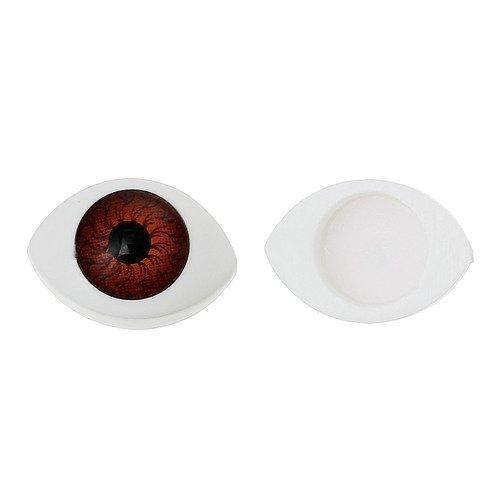 1 paire d'oeil a coller blanc marron et noir - 17x11mm