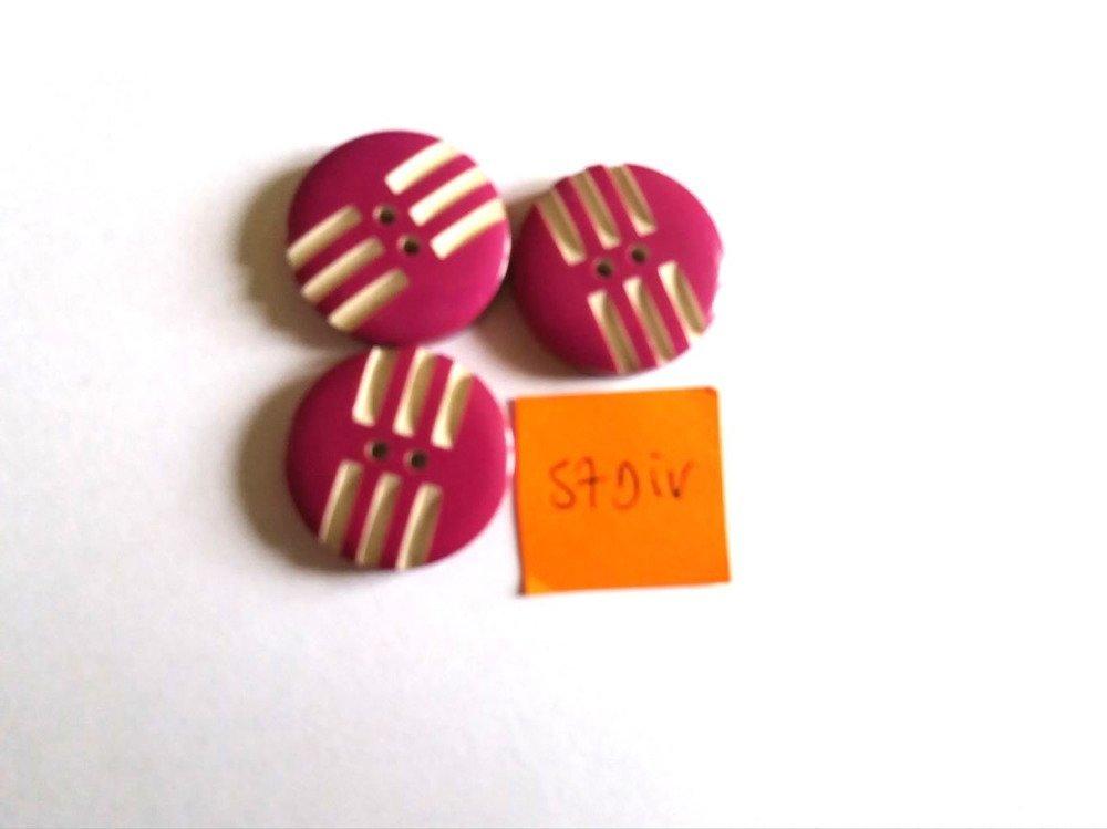 3 boutons résine violet et blanc vintage - 22mm - 57DIV