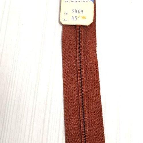 Zip Fermeture éclair simple séparable de 45 cm Marron
