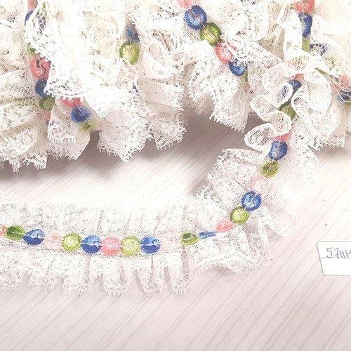 40mm vintage 1m dentelle blanche a décor multicolores 57HH