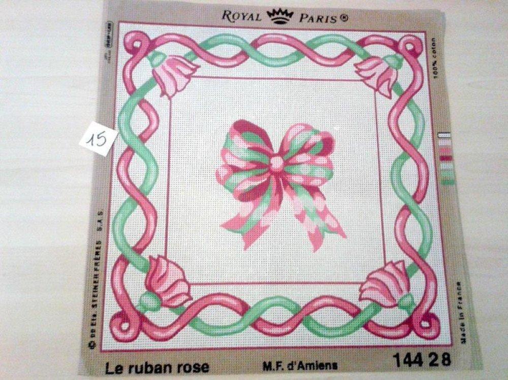 "1 canevas ""le ruban rose"" - ROYAL PARIS - Made in France - 43x44cm"