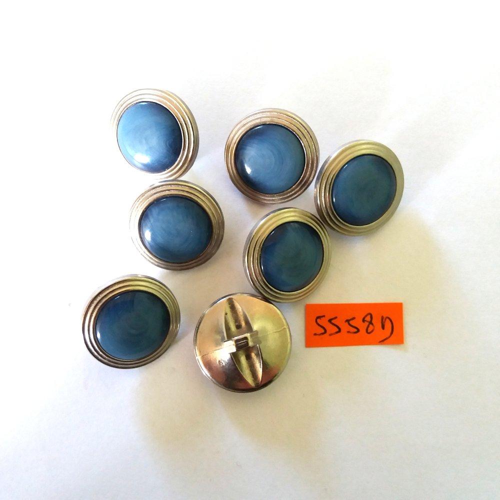 7 boutons en métal argenté et résine bleu - vintage - 22mm - 5558D