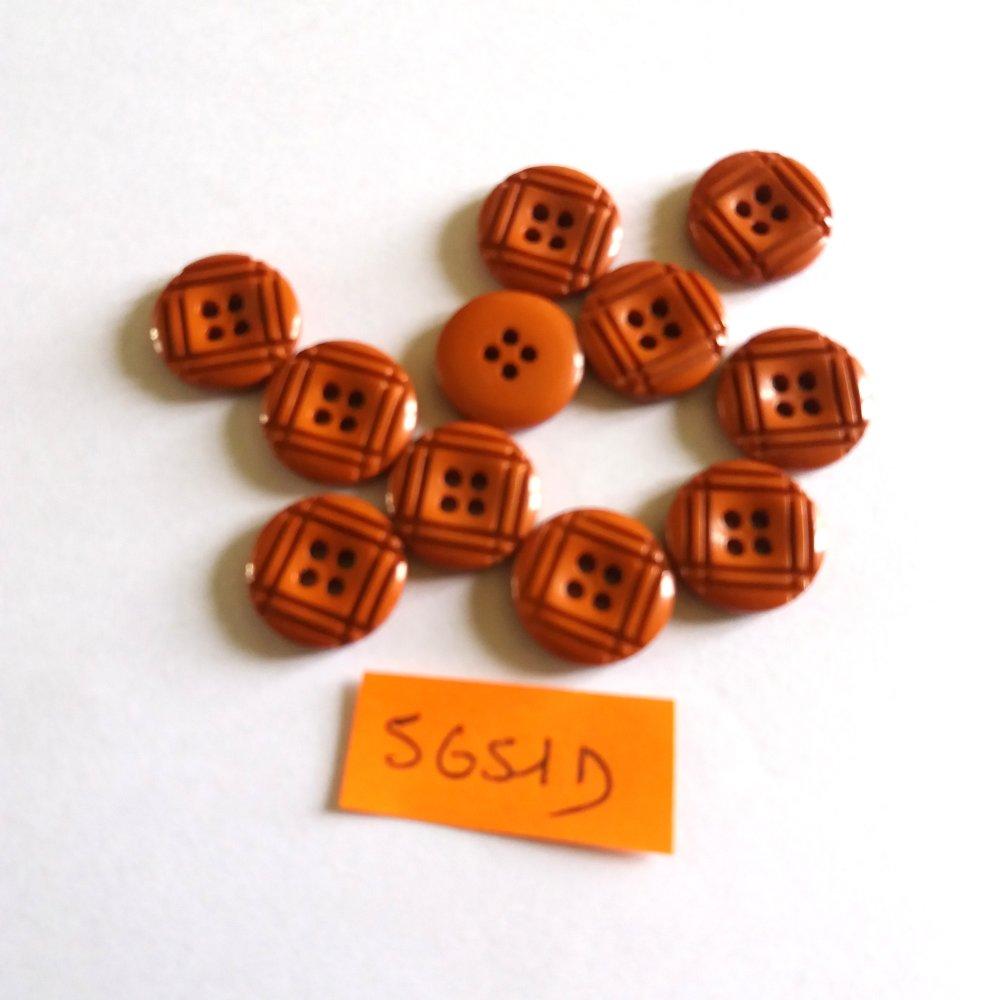 11 boutons en résine marron clair - vintage -14mm - 5651D