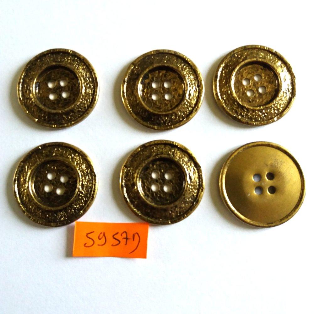 6 boutons en métal doré - vintage - 27mm - 5957D