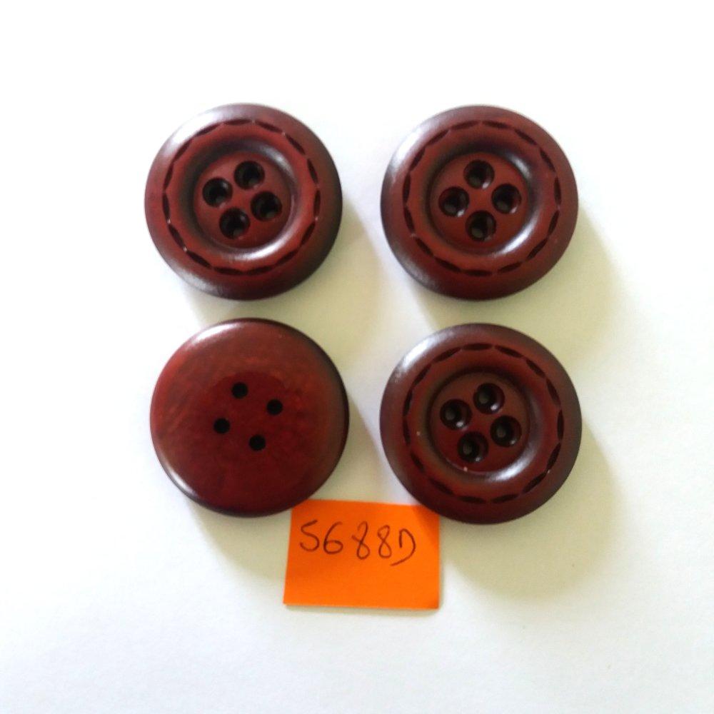 4 boutons en résine rouge foncé - vintage - 34mm - 5688D