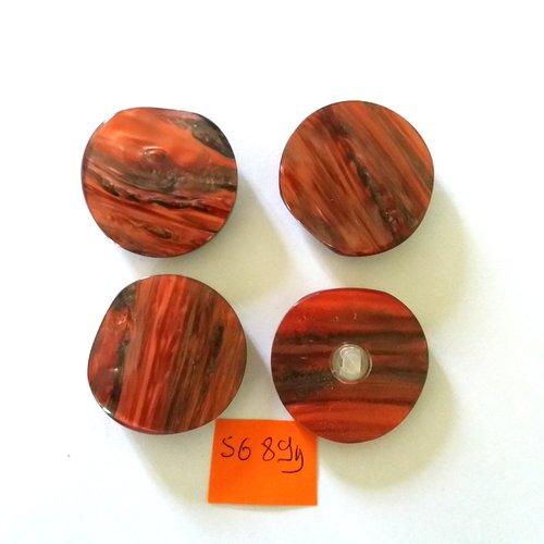 5689D 34mm vintage 4 boutons en résine rouge et noir