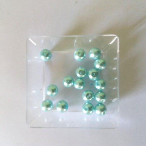 Vert Sapin 50 Perles de Bohème en verre craquelée 8/<9 mm