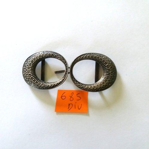 4 boutons neuf mercerie plastique MARRON FONCE 3.7 cm lot 685