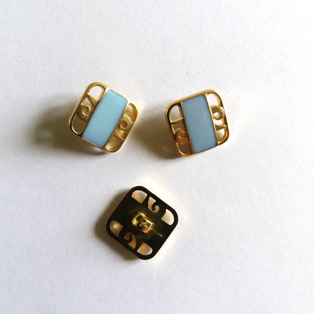 3 boutons en résine bleu et doré - ancien - 14x14mm - 187MP