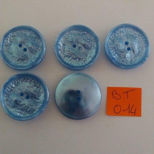 5 boutons en résine bleu clair - vintage- 31mm - bt014