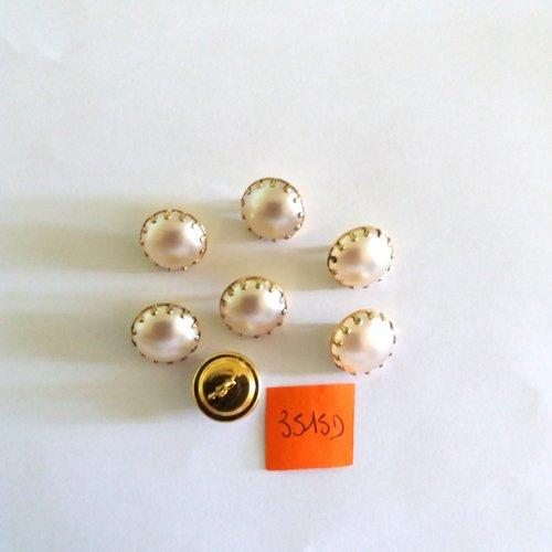 6 boutons en verre jaune avec un liserai doré 11mm 2679D anciens