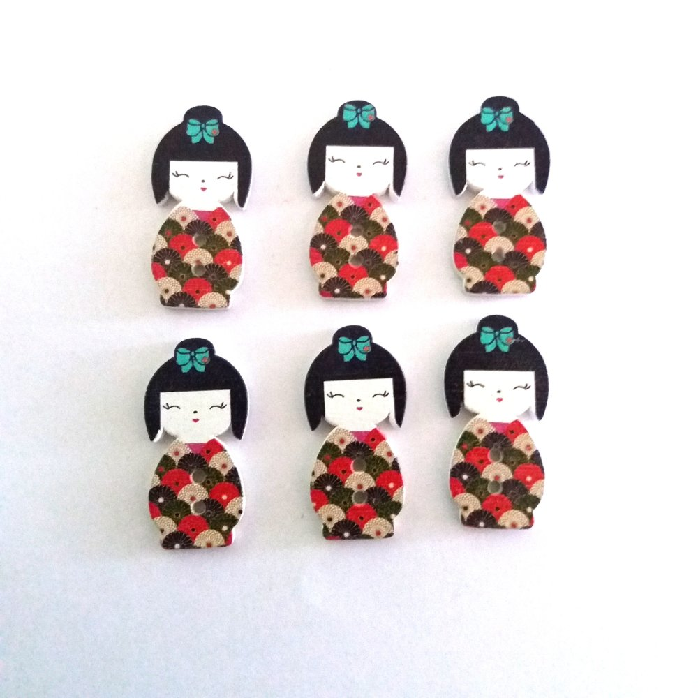 6 boutons en bois poupée geisha - rouge vert et beige - 15x30mm