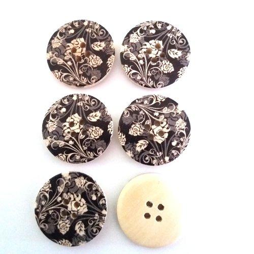 6 boutons fantaisies en bois écru noir et gris  - 30mm