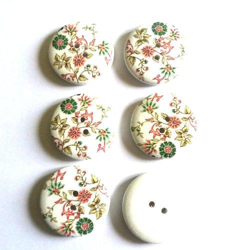 6 boutons fantaisies en bois fond blanc avec des fleurs multicolore  - 30mm