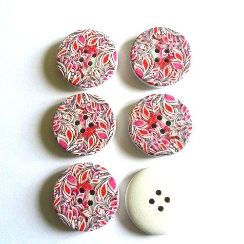 6 boutons fantaisies en bois avec des feuilles rose et rouge  - 30mm
