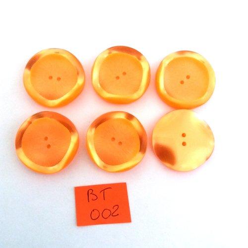 6 boutons en résine orange - vintage - 30mm - bt002