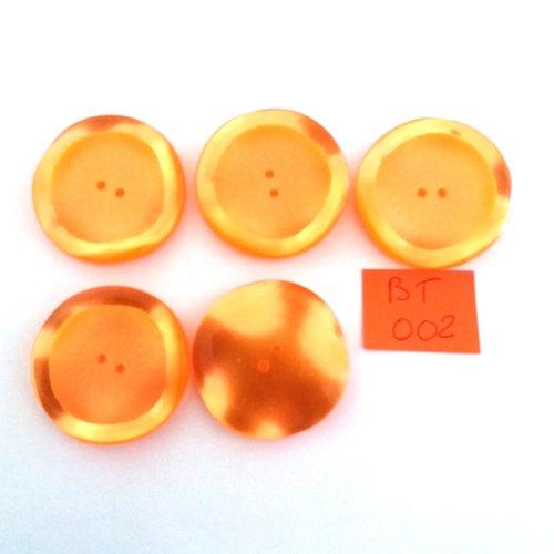 5 boutons en résine orange - vintage - 35mm - bt002