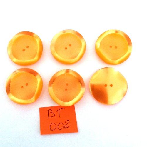 6 boutons en résine orange - vintage - 27mm - bt002