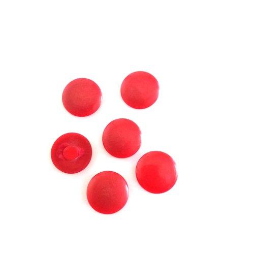6 boutons en résine rouge - 18mm - 599mp