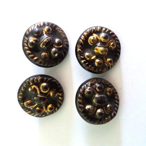 4 boutons en céramique marron et doré - ancien - 25mm - 486mp