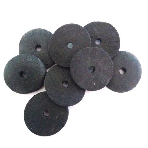 8 boutons en bois noir - ancien - 30mm - 464mp