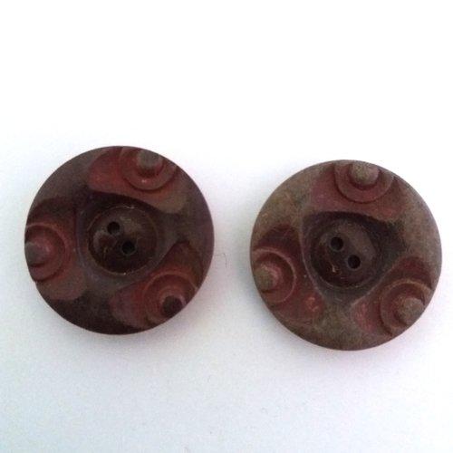 2 boutons en résine marron dégradé - art deco - ancien - 32mm - 461mp